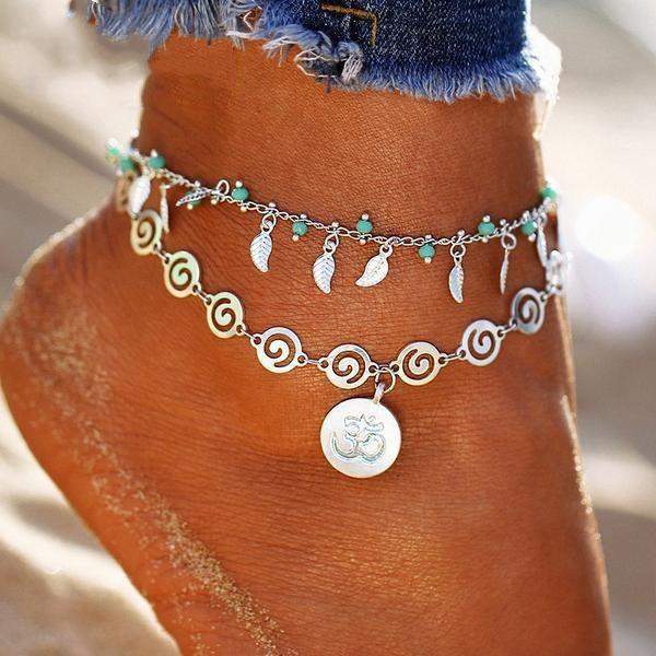 Leaf Flower Multilayer Spiral Style Anklet -Yogistyle - Yogi Clan
