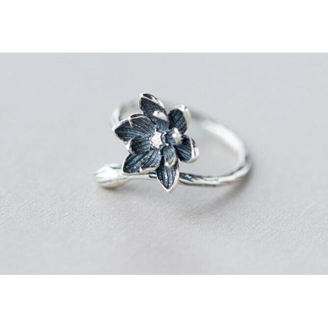 Handcrafted Beautiful  Lotus Flower Ring For Yogini Retro Style Adjustable