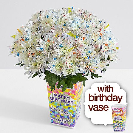 100 Blooms of Floral-Fetti with Birthday Vase