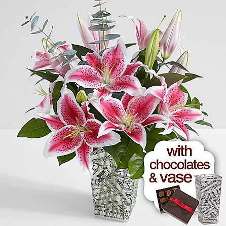 Fragrant Stargazer Lilies with Music Vase & Chocolates