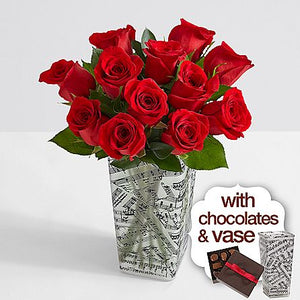 One Dozen Red Roses with Music Vase & Chocolates