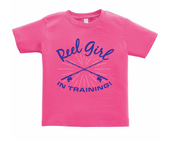 Toddler/Children's Reel Girl in Training Scoop Neck T-Shirt - Hot Pink - Destin Outdoors