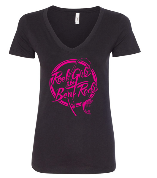 Reel Girls Like Bent Rods V Neck T-Shirt - Black with Pink - Destin Outdoors
