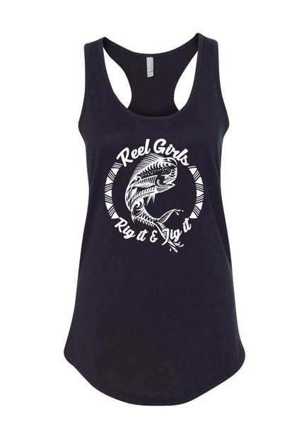 Mahi Rig It & Jig It Tribal Racerback Tank Top - Black with White - Destin Outdoors