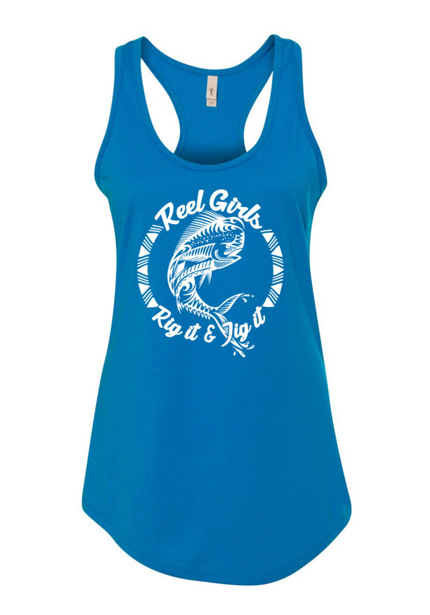 Mahi Rig It & Jig It Tribal Racerback Tank Top - Blue with White - Destin Outdoors