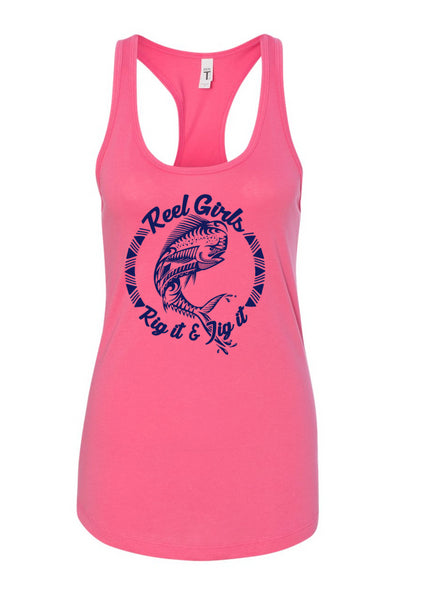 Mahi Rig It & Jig It Tribal Racerback Tank Top - Pink with Navy Blue - Destin Outdoors