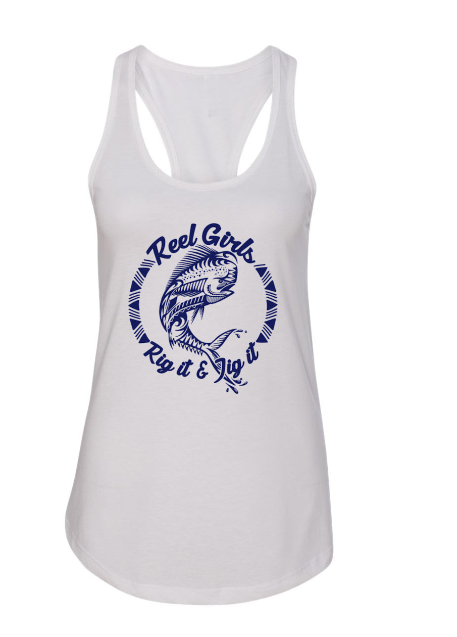 Mahi Rig It & Jig It Tribal Racerback Tank Top - White with Navy Blue - Destin Outdoors