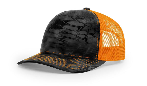 Reel Girls Kryptek Typhon/Neon Orange Logo Adjustable Trucker Hat (Richardson 112P) - Destin Outdoors