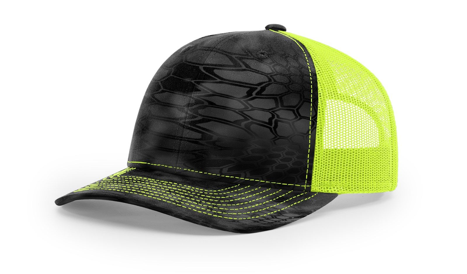 Reel Girls Kryptek Typhon/Neon Yellow Logo Adjustable Trucker Hat (Richardson 112P) - Destin Outdoors