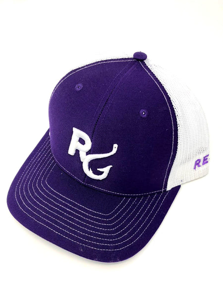 Reel Girls Logo Adjustable Trucker Hat - Purple with White - Destin Outdoors