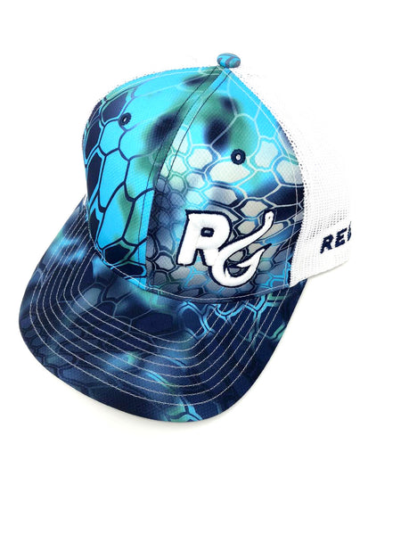 Reel Girls Logo Adjustable Trucker Hat - Blue Krpytek Pontus Camo - Destin Outdoors