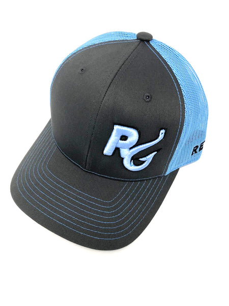 Reel Girls Logo Adjustable Trucker Hat - Charcoal with Columbia Blue - Destin Outdoors