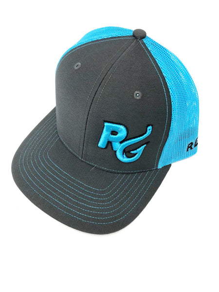 Reel Girls Logo Adjustable Trucker Hat - Charcoal with Neon Blue - Destin Outdoors