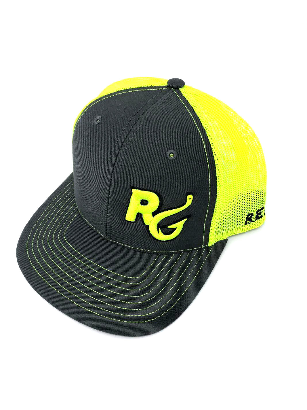 Reel Girls Logo Adjustable Trucker Hat - Charcoal with Neon Yellow - Destin Outdoors