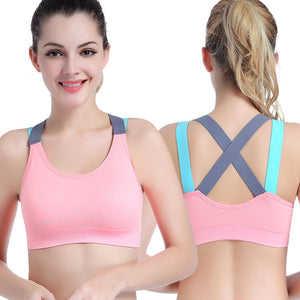 Sexy Sports Bra Top for Fitness Women Push Up Cross Straps Yoga Running