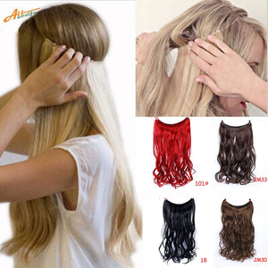 "24"" Invisible Wire No Clips In Hair Extensions Secret Fish Line Hairpieces Synthetic Straight Wavy Hair Extensions"