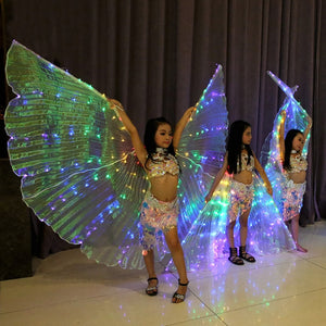 Girls Colored LED Light Belly Dance Wings Butterfly Costume