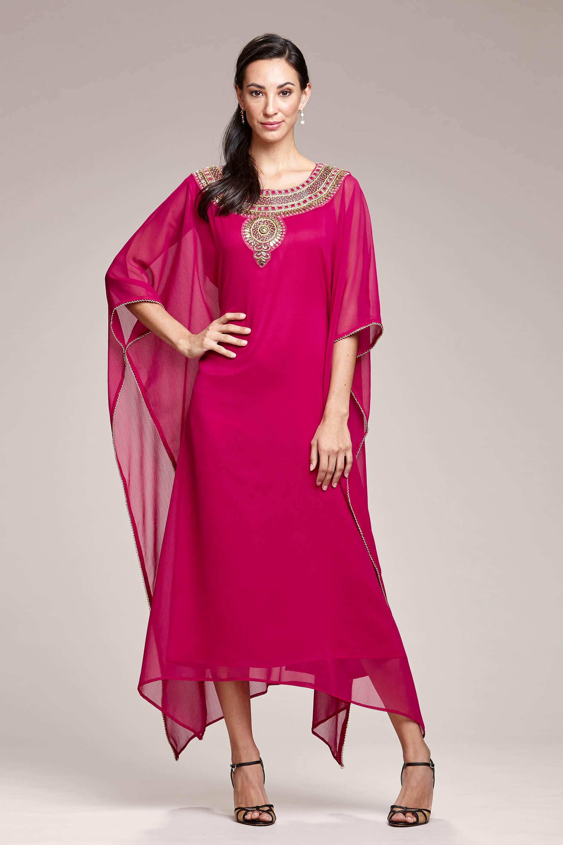 0bf9a44742 Magenta Kaftan Dress With Gold Embroidery   Crystal Detail Front View