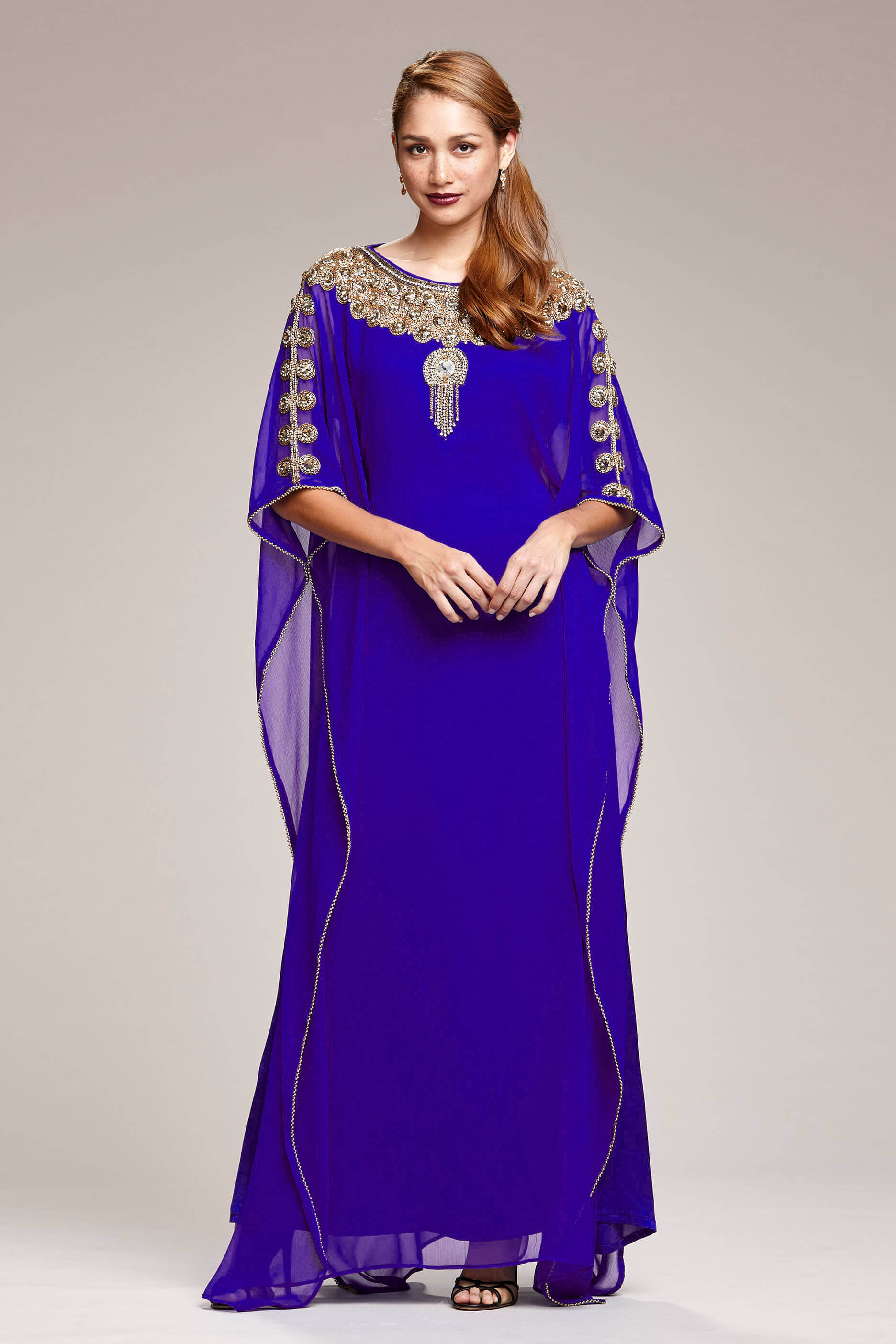 30c7bbca7bd Royal Blue Kaftan Maxi Dress With Gold Embroidery   Crystal Detail Front  View