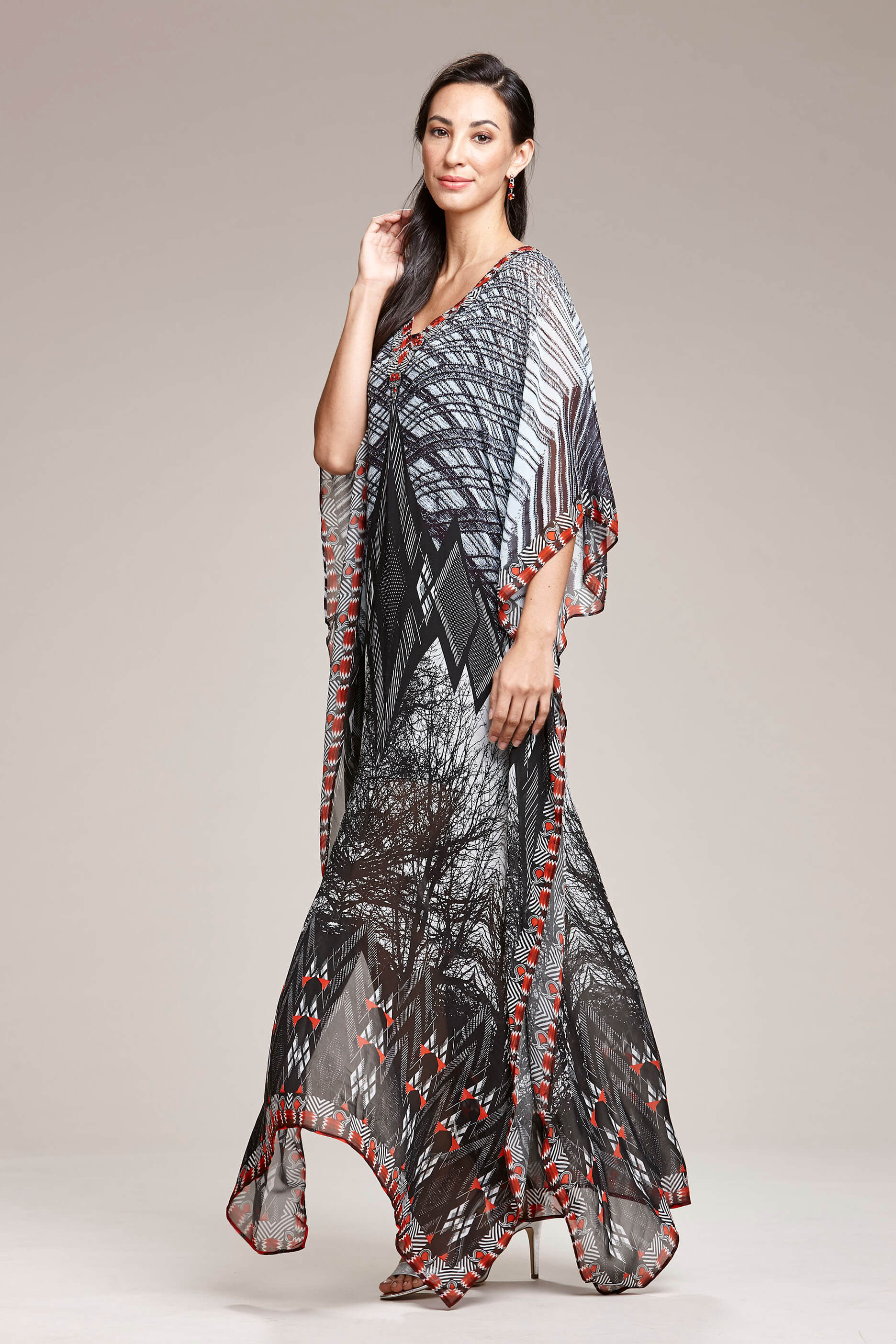 e40888f8ece6 Kaftan Maxi Dress Black Red Graphic Tree Print With Crystal Detail Left  Side View