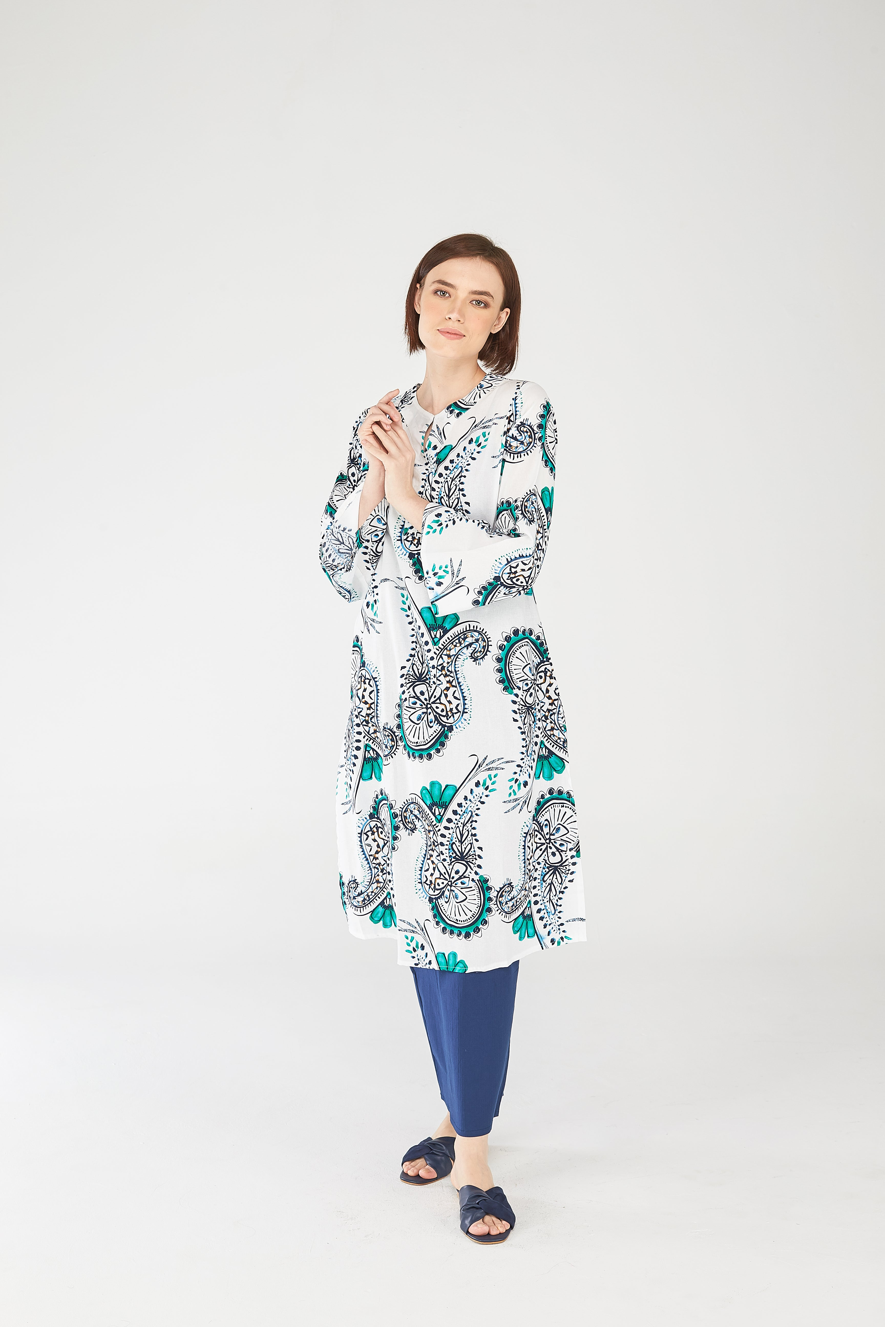 Fatiha Tunic Top in White