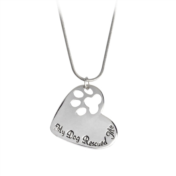 "Paw Heart Necklace ""My Dog Rescued Me"