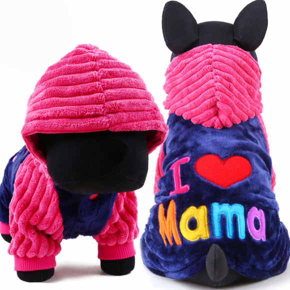 I love papa and mama winter Dog Clothes