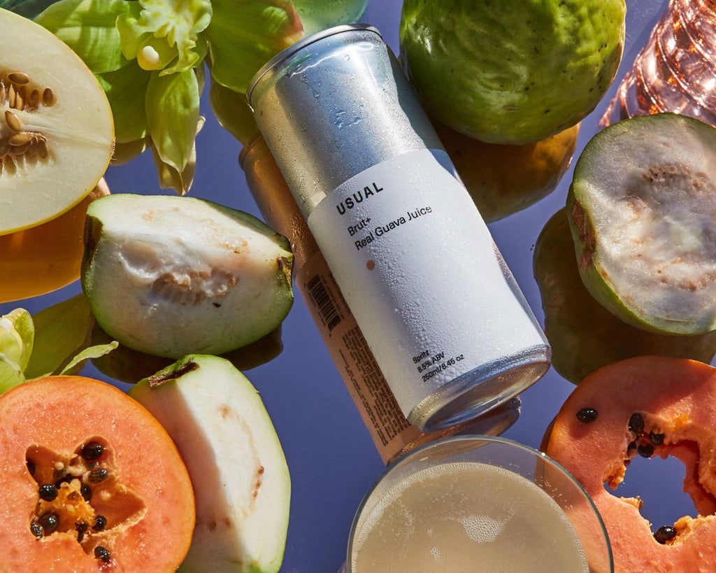 what is hard seltzer: canned Usual Spritz with some sliced guava fruit