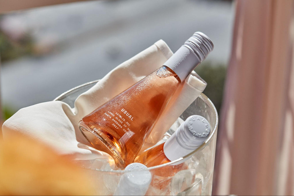 wine spritzer: large bottles of Rosé from Usual Wines in an ice bucket