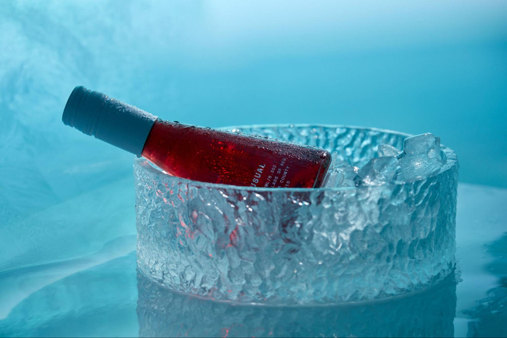 do you chill red wine: red wine bottle in an ice bucket from Usual Wines