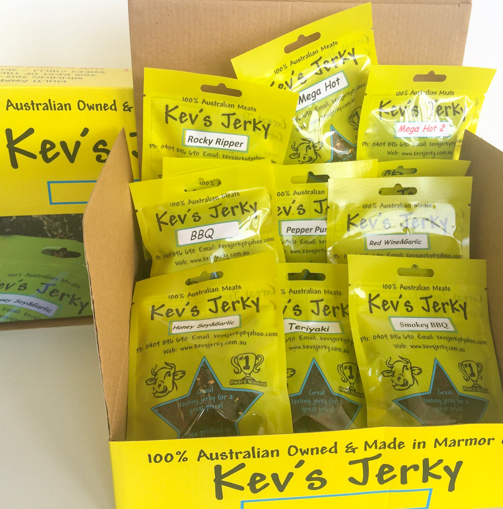 Gift Box 100g bags of beef jerky 12 per box. Send us a message which flavors you want in the box.