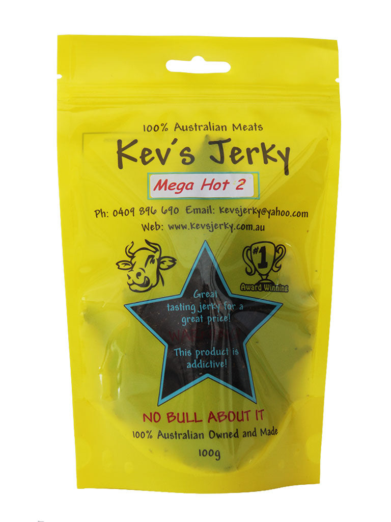 Mega Hot 2  Beef Jerky 100g bag