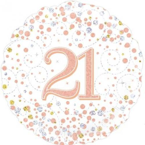 21 Helium Balloon - White/Rose Gold