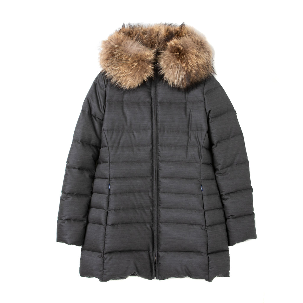 <WOMEN><br>Long Down Coat w/Fin Raccoon Fur