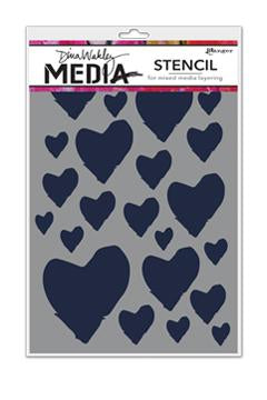 Dina Wakley Stencil - The best hearts