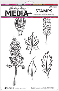 Dina Wakley cling stamp - Scribbly Leaves and pods