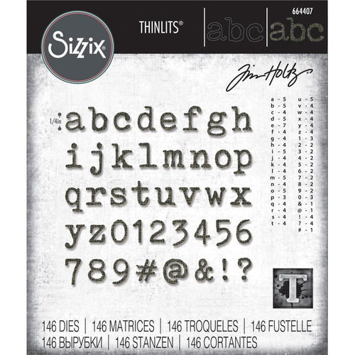 Tim Holtz Sizzix thinlits dies - Alphanumeric label Lower case