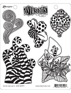 Dylusions Cling Stamp - Stripy Curlicues