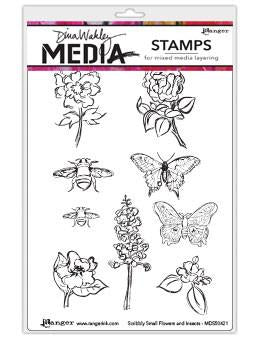Dina Wakley cling stamp - Scribbly small flowers and insects