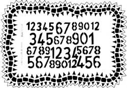 "Dyan Reaveley 9""x12"" stencil - Number jumble"
