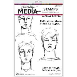 Dina Wakley cling stamp - Strong men