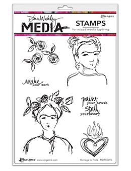 Dina Wakley cling stamp - Homage to Frida