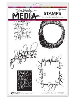 Dina Wakley cling stamp - Scribbled text elements