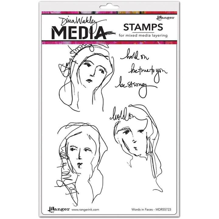 Dina Wakley cling stamp - Words in Faces