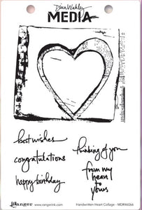 Dina Wakley cling stamp - Handwritten heart collage
