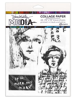 Dina Wakley collage paper vintage and sketches