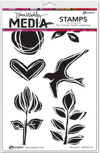 Dina Wakley cling stamp - Woodcuts