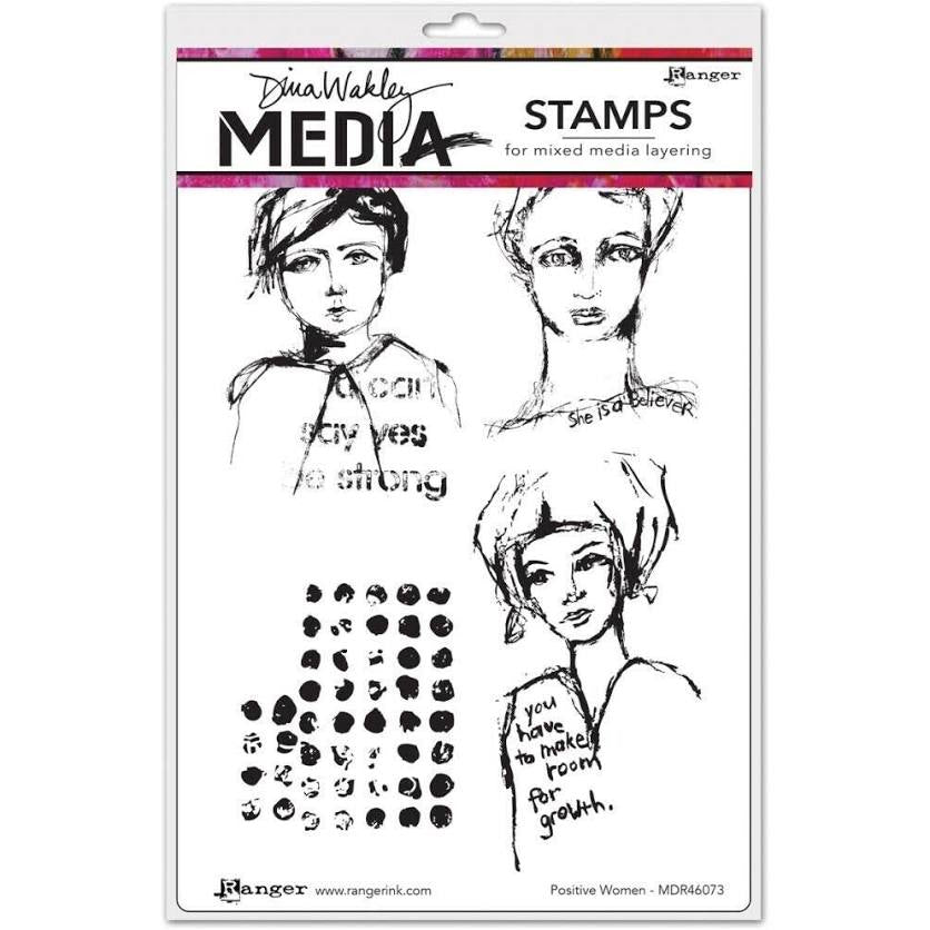 Dina Wakley cling stamp - Positive women