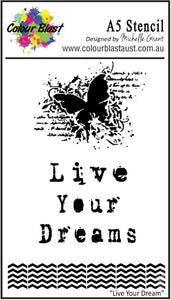 Colour Blast A5 stencil - Live tour dreams