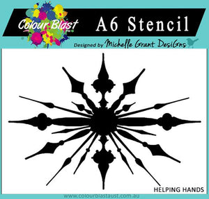 Colour Blast A6 stencil - Helping Hands